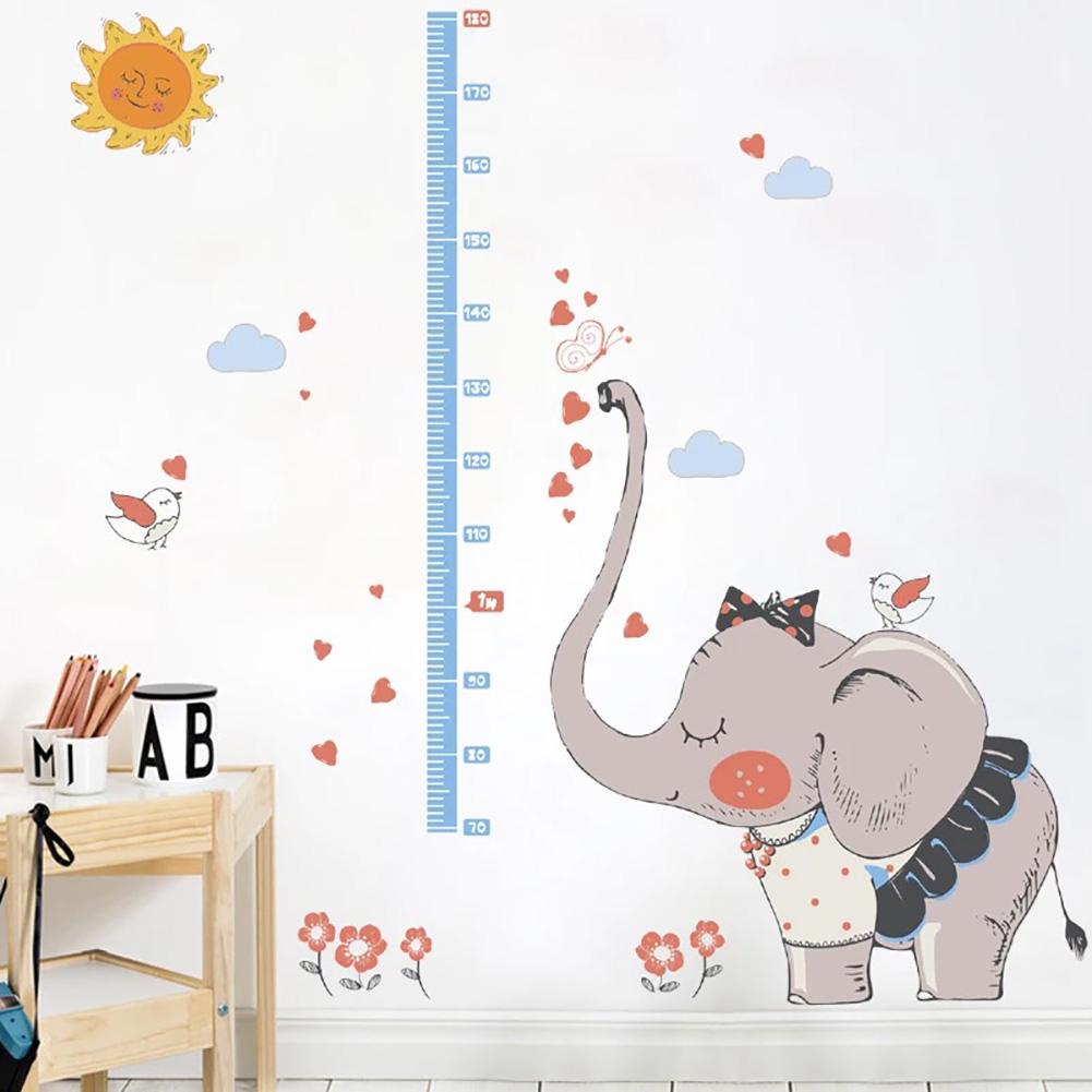 Elefant grau Wandaufkleber Kinderzimmer Wandtattoo Messleiste ...