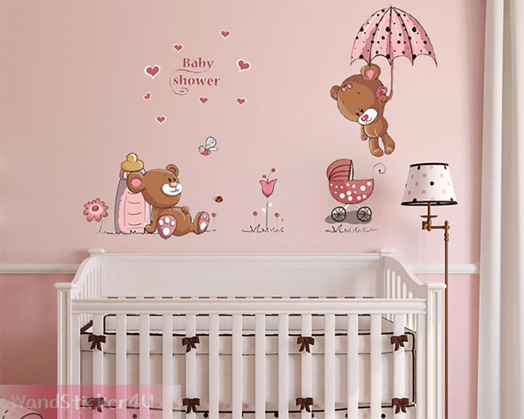 Wandtattoo kinderzimmer baby b r rosa wandaufkleber teddy b rchen sticker blumen ebay - Kinderzimmer wanddeko ...