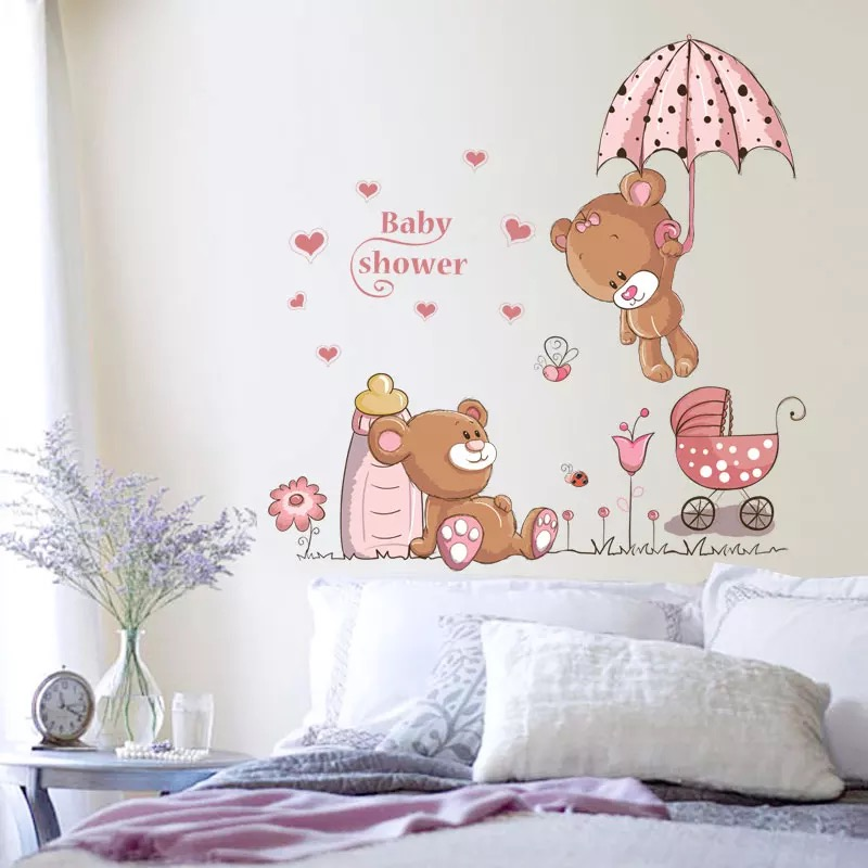 wandtattoo kinderzimmer b rchen teddy b r wandsticker babyzimmer rosa zuckers ss ebay. Black Bedroom Furniture Sets. Home Design Ideas