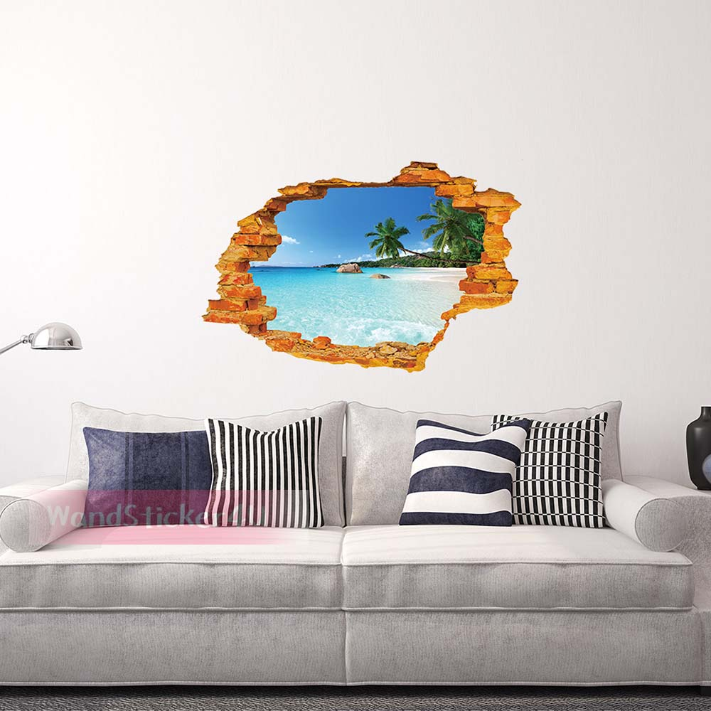 3d wandtattoo wohnzimmer himmel insel segel schiff planet meer ozean wandsticker ebay. Black Bedroom Furniture Sets. Home Design Ideas