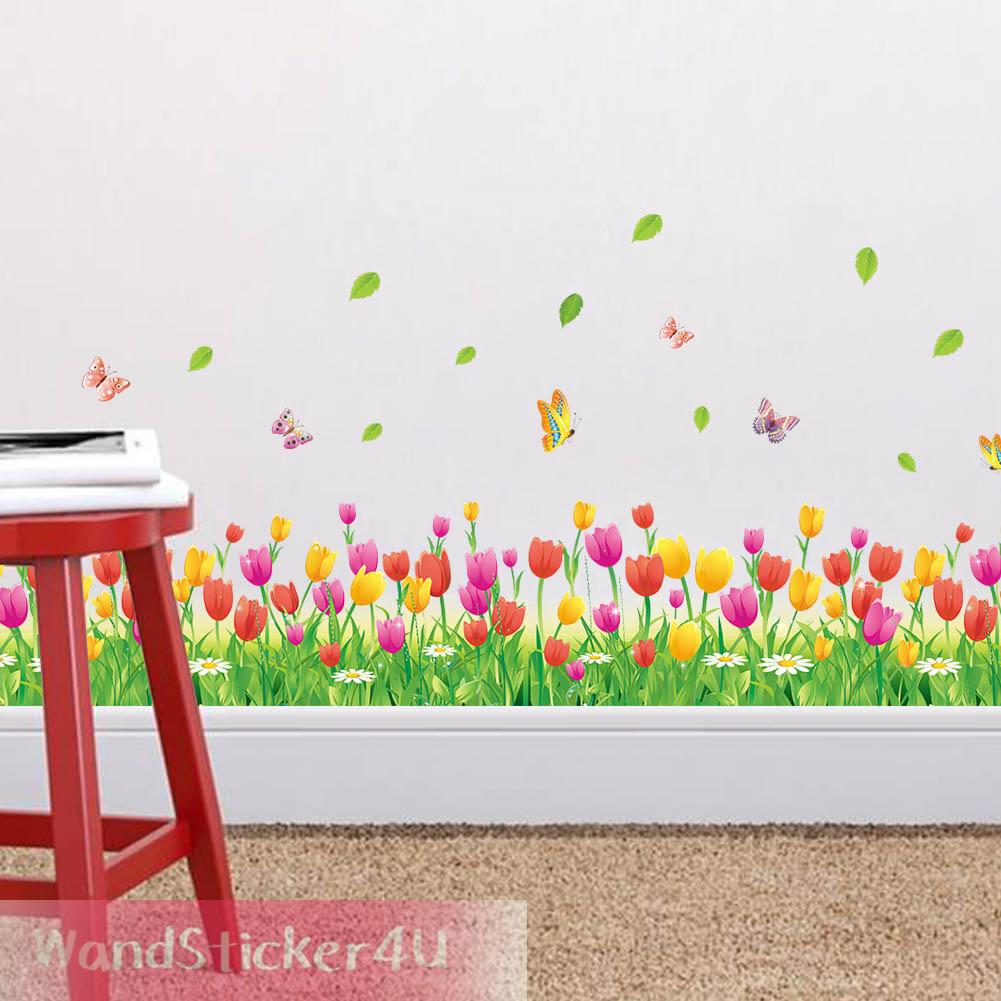 Aufkleber bord re bordure blumenwiese schmetterlinge tulpen gras bunt fenster ebay - Bordure jugendzimmer ...