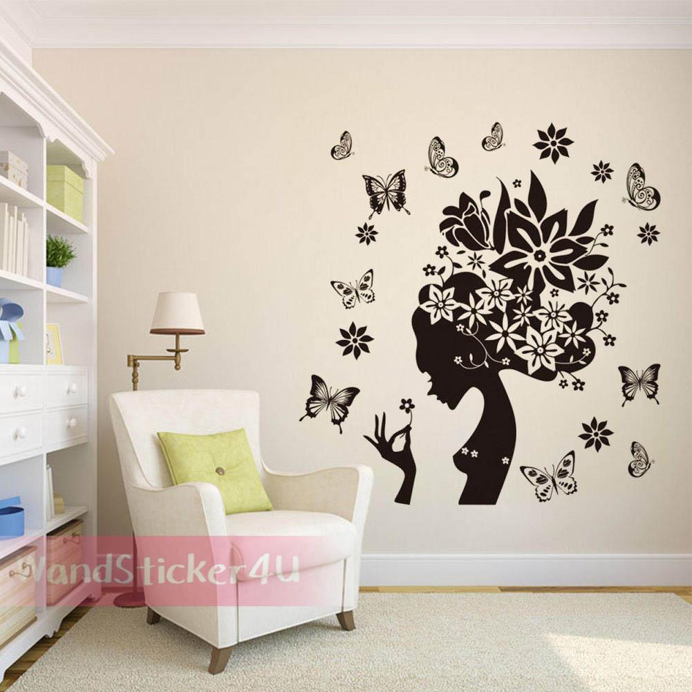 wandtattoo wohnzimmer blumen m dchen frau schmetterlinge. Black Bedroom Furniture Sets. Home Design Ideas