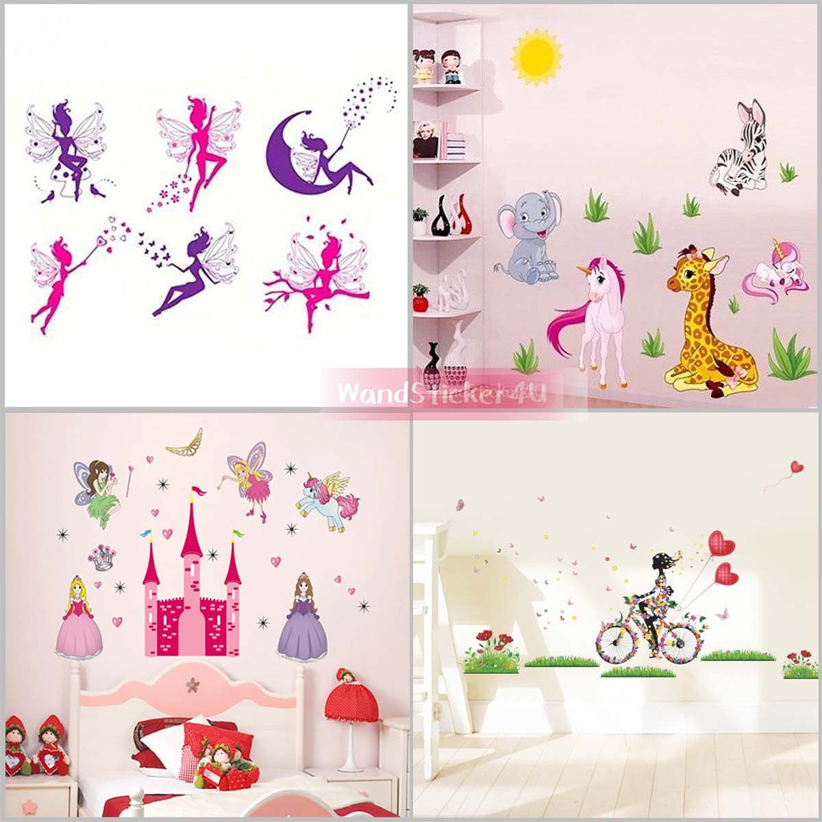 wandtattoo kinderzimmer m dchen prinzessin schloss einhorn pferd elfe fee tiere ebay. Black Bedroom Furniture Sets. Home Design Ideas