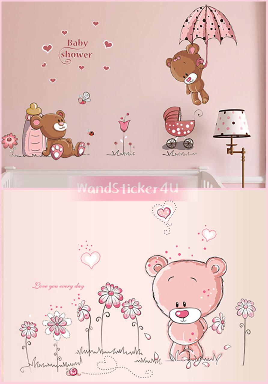 Fabelhaft Wandtattoos Babyzimmer Ideen Von Wandtattoo Kinderzimmer Bärchen Teddy Bär Wandsticker Rosa
